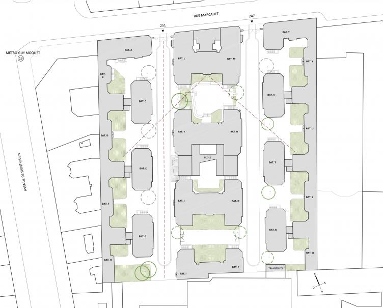 PoOla - architecture du paysage - Plan masse existant Marcadet